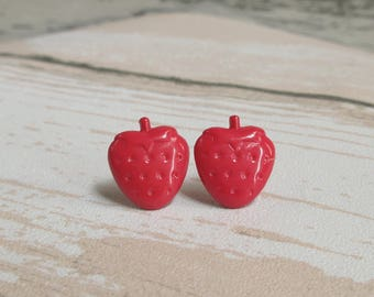 Strawberry Stud Earrings, Miniature Fruit Earrings, Funny Gift, Quirky Jewelry