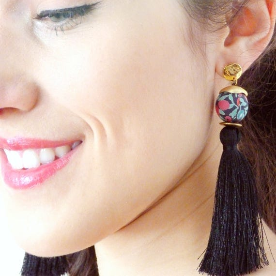 Tassel earrings,Black earrings,Long earrings,Silk tassel earrings,Luxurious earrings,Statement earrings,2018 jewelry,Boho chic earrings