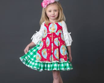 Little Girls Pinafore Apron Dress - Spring Outfit - Buffalo Check Plaid  - Toddler Girls Dress - Spring Dress - sizes  4T - 10 yrs