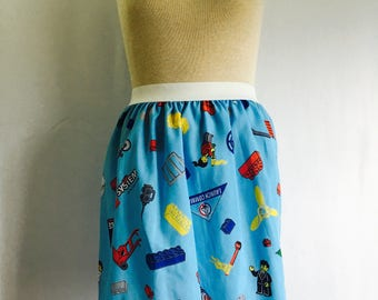 "Lego Ladies Skirt from upcycled fabric - - 26"" - 30"" waist"