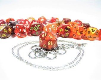 Red & Orange d20 Necklace and Key Chain Combo With Removable Dice - Gifts for Geeks and Gamers