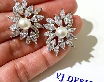 Pearl Wedding Earrings, Marquise Ear Studs, Cz Bridal Earrings, Leaf Vines Earrings, Cubic Zirconia Silver Wedding Jewelry Gift, SANGRIA