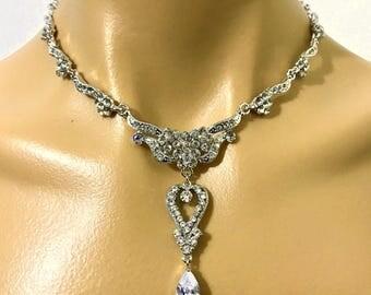 Victorian Bridal Necklace, Statement Wedding Necklace, Cz Drop Bridal Jewelry, Swarovski Crystal Wedding Jewelry, Gift for Her, ROMANTICA