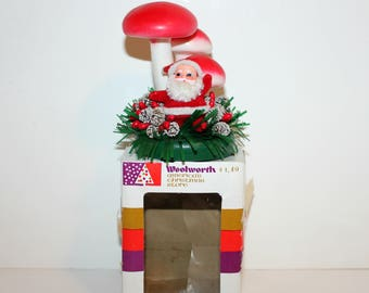 Santa in Mushroom Patch, 1970s Japan Christmas Decor Figure