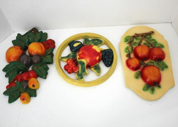 3 Fruit Wall Hangings, Vintage Chalkware Plaster 3D Kitchen Decor
