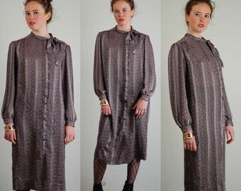 Shift Dress Vintage 80s Chiffon + Satin Sheer Striped Draped Shift Dress (m l)