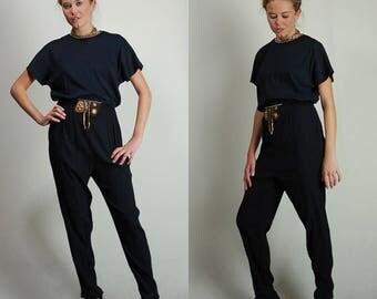Vintage Jumpsuit / Black Jumpsuit / Vintage 80s / 80s Jumpsuit / Pantsuit / Romper / Jumper / Coveralls / Black Romper / Medium Large