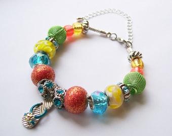 BEACH DAY - European Style Flip Flop Charm Bracelet - Summer Jewelry