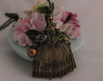 Marie Antoinette Necklace Antique Brass Victorian vintage masquerade ball girly jewelry statement necklace Queen Jewelry Feminine Jewelry