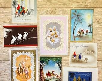 8 Vintage Christmas Wisemen Cards, We Three Kings Religious Christmas Cards, 1940s-1960s Christmas Wiseman Cards
