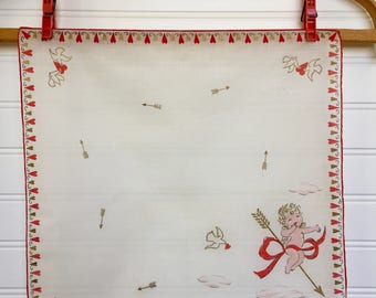 NOS Vintage 1950s Cupid and Arrow Hanky, Valentine's Day Hanky, Doves, Hearts, Hand Rolled Hanky, Gold Ink