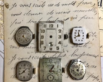 Vintage WATCH PARTS (6) Movements Ladies Steampunk Jewelry Supply- Watch Faces Movements- Gears- Clock Parts- C81