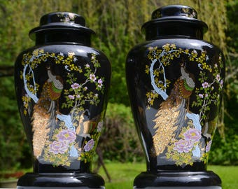 """Pair of 15"""" Ceramic Ginger Jar Asian Style Lamp Bases, Floral Peacock Imagery"""