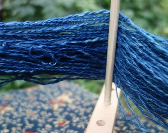 Hemp Yarn Handspun Indigo Dyed 80 Yards Art Yarn Hemp Plant Fiber 2 Ply Yarn Double Plied Hemp Yarn Medium Indigo Blue Shade One Skein
