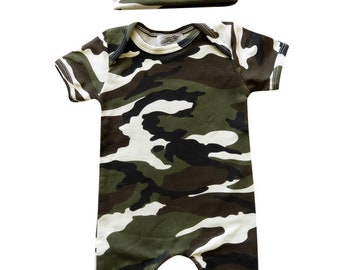 Baby Romper with Matching Hat- Camouflage