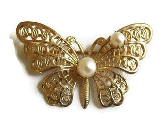 Faux Pearls Filigree Butterfly Brooch Vintage