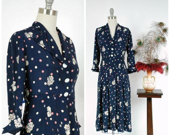 Vintage 1940s Dress - Classic Cold Rayon 40s Day Dress in Navy Blue with Pink and White Polka Dots and Vases with Flowers