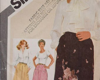 Simplicity 5057 Vintage 1980's Sewing Pattern Set of Pull On Skirts Elastic Waistline Side Seam Pockets Inverted Pleat 80s Skirt Sz16 UNCUT