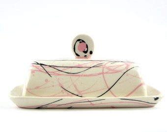 Butter Dish with Pink and Black Line Design