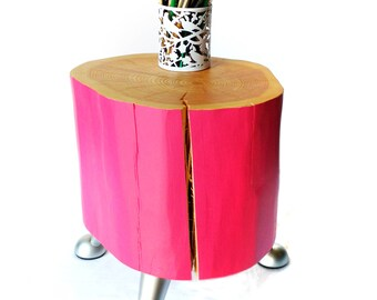 Modern LOG SIDE TABLE - contemporary - unique - pink - wood - log - stump - modern - three legs - bedside table - for her - girl's room