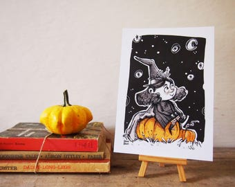 Little witch illustration, tiny print of sorceress girl with pumpkin in a dark night