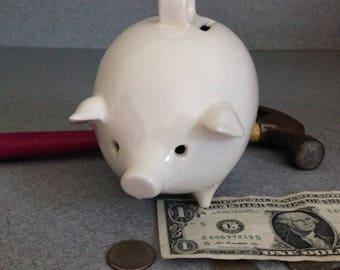 Vintage White Ceramic Piggy Bank No stopper  Break or shake with eye holes #WpB/Swe