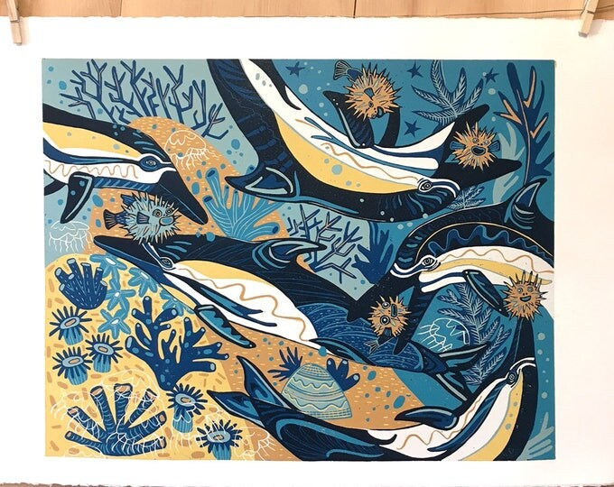"""Moonlit Migration"" original woodcut"