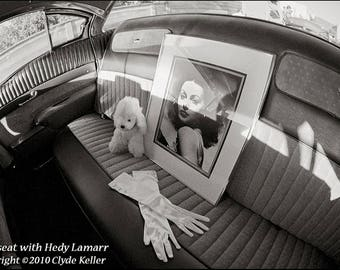 HEDY LAMARR BACKSEAT, Hollywood movie star, Clyde Keller photo, 1998