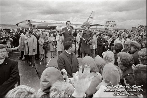 Richard and Pat Nixon, AIRPORT GREETING, Clyde Keller photo, 1971