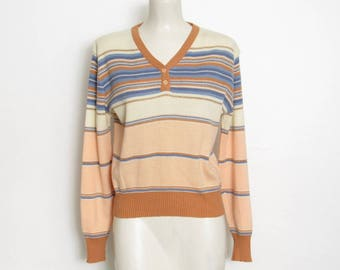 1970s Pullover Sweater / Long Sleeved Pastel & Gold Metallic Striped Knit / Women's Vintage 70s Point East Sweater
