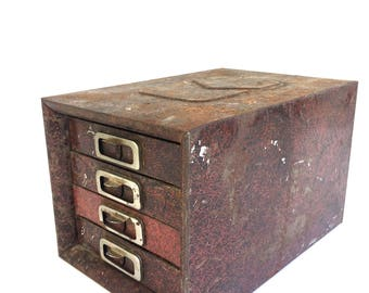 Vintage Industrial Metal Cabinet~ Small 4 drawer Cabinet~ Unique Storage box, Jewelry box ~ Industrial decor