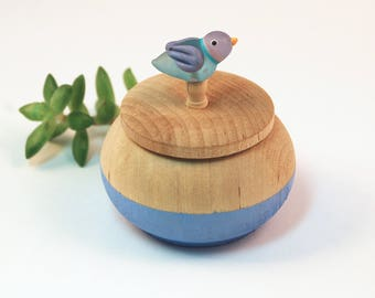 Tiny Wood Trinket Box with  Lampwork Glass Blue Birdie Knob/Finial