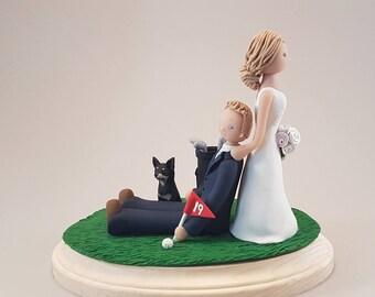 Bride Dragging Groom Golfer Personalized Wedding Cake Topper