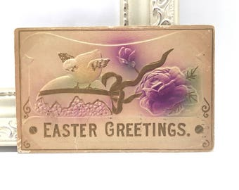 Vintage Easter Postcard, Vintage Postcard, Easter Postcard, Easter Ephemera, Heavily Embossed Chick and Purple Roses, 1910