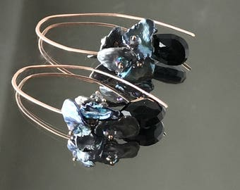 Rose Gold Fill Elongated Earrings Black Spinel Mystic Topaz Peacock Keishi Pearl Cluster Wire Wrap Rose Gold Earrings Urban Chic