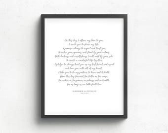 marriage vow print, wedding keepsake art, first anniversary gift, paper wedding gift, custom wall art, first dance song keepsake