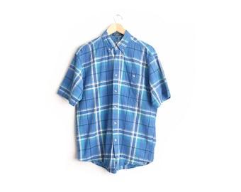 Size L // BLUE PLAID SHIRT // Short Sleeve - Button-Up Oxford - Collar - Vintage '90s.