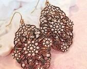 50% Off Clearance Sale romantic art nouveau earrings - pearl - wedding jewelry - statement earrings - VICTORIAN LACE
