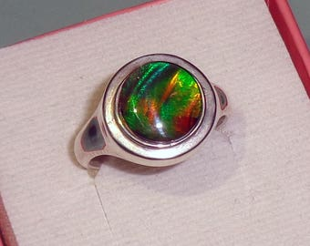Ammolite Cabochon Sterling Silver Ring Multi Colored Quartz Crystal Capped Gemstone