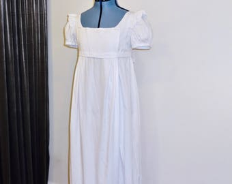 """Readymade Regency Bib Front Gown, White Striped Cotton Dobby, 33""""-35""""  Bust"""