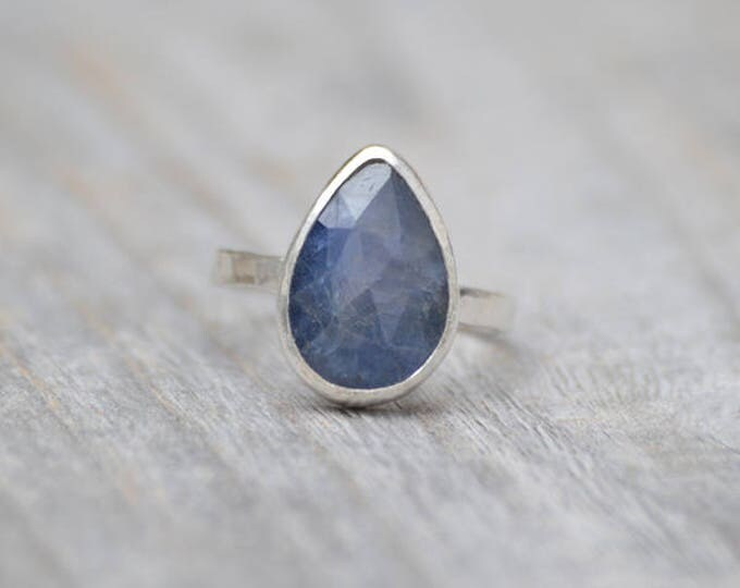 Rose Cut Sapphire Ring, 3.95ct Raindrop Sapphire Statement Ring, September Birthstone Ring, Wedding Gift, Something Blue Gift
