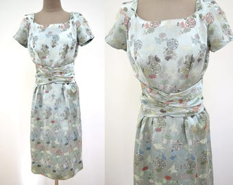Vintage Asian Jacquard Brocade 50s 60s Wiggle Dress XS // extra small 1950s 1960s satin // wide belt  // butterfly floral