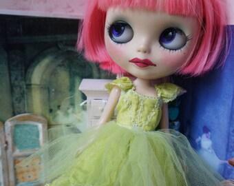 BLYTHE DRESS -  Sweetheart Flirty Ballerina Tutu Hand-Dyed Silk Dress - Chartreuse Green