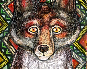Original Little Fox Painting by Artist Lynnette Shelley