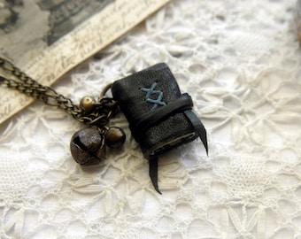 The Little Gypsy - Mini Wearable Book, XXS, Black Recycled Leather - OOAK