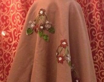 """1950's, 28""""waist, light cocoa brown wool felt circle skirt."""
