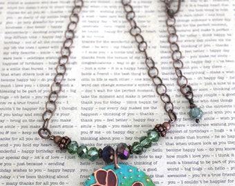 Flower Jewelry, Flowers, Patina Jewelry, Hand Painted Jewelry, Copper Jewelry, Botanical Jewelry, Crystal Necklace, Gifts, Vintaj Necklace