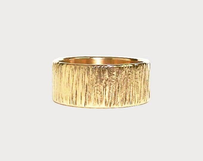 Carved Into Wood_  14K Yellow Gold Wedding Band, Handmade Wedding Ring, Tree Bark Texture Wedding Band
