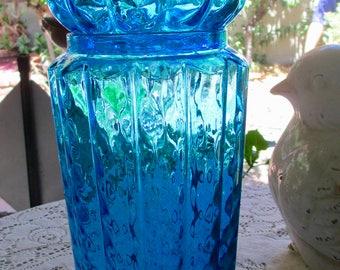 Huge Mid Century Empoli Turquoise Aqua Blue Glass Apothecary Jar Vintage