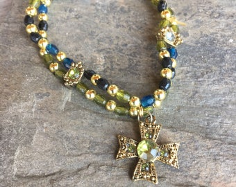 Simple Beaded Stretch Bracelet Hanging Cross Greens Blues Religious Rosary Cross Estate Jewelry Beaded